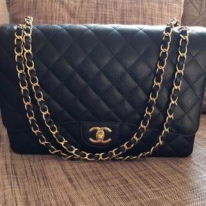 Chanel maxi classic handbag grained calfskin